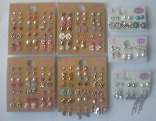 Lot of 102 Pairs of Studs and Dangle Earrings Hypo Allergenic New lot E