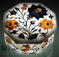 White Marble Jewellery Box Rare Mosaic Inlay Marquetry Art Kitchen Decor Gifts