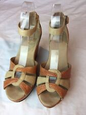 Ted Baker Women's Nude Orange Snake Skin Pattern Leather Wedge Shoes Size 5(TR15