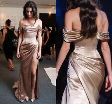 Split Long Formal Celebrity Prom Dress Off-Shoulder Evening Cocktail Party Gown