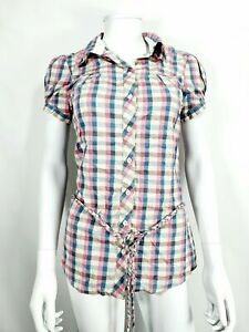 NEW Blend Slim Fit Pink Check Short Sleeve Shirt / Blouse Sz S Small