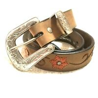 Nocona Womens Western Floral Rhinestone Belt 28 Embroidered Brown Leather Silver