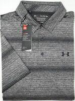 NWT $65 Under Armour Heat Gear SS Black Striped Shirt Mens XL XXL Playoff Polo