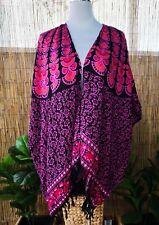 Plus Size Floral Paisley Bright Loose Fitting Rayon Long Kimono/Jacket One Size