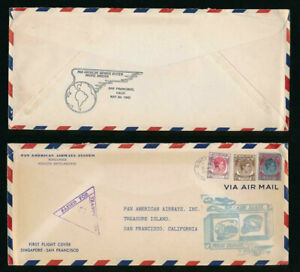 MALAYA 1941 CENSORED FIRST FLIGHT SINGAPORE SAN FRANCISCO USA