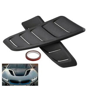2pcs Black Universal Auto Car Air Flow Intake Scoop Hood Bonnet Vent Cover