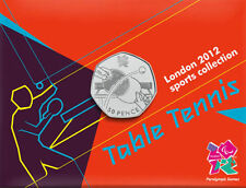 2012 50p OLYMPIC 22/29 TABLE TENNIS COIN ON CARD BRILLIANTLY UNCIRCULATED a