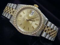 Rolex Datejust Mens 2Tone 14k Gold Stainless Steel Watch 1ct Diamond Bezel 1601