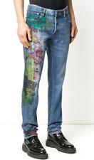 $525 New Mens Just Cavalli Straight Leg Graffiti Print Blue Jeans Italy 30 x 34