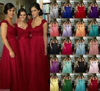 Long Chiffon Lace Formal Prom Bridesmaid Evening Ball Gown Party Dress Size 6~22