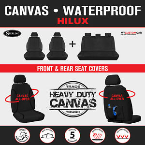 For Toyota HiLux Dual Cab 2009-2015 TRADIES Black Canvas Seat Covers