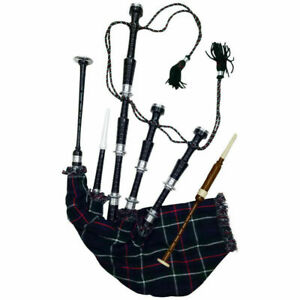 Highland Scottie Mackenzie Bagpipes Silver Amount Black Cover & free Accessories