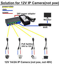 4 port PoE Injector Switch solution for 4 pcs IP Cameras in 12V(not poe camera)