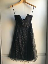 VINTAGE DRESS 30/40's Black with small silver dots (Size 8)