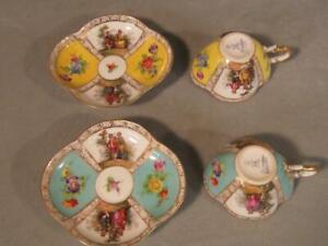 PAIR AQUA & YELLOW RICHARD KLEMM DRESDEN QUATREFOIL DEMITASSE CUPS & SAUCERS