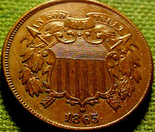 1865 Two Cent Piece 2c ~FANCY 5~  A NlCE HIGHER GRADE COIN w/ SOLID DETAILS 82AJ