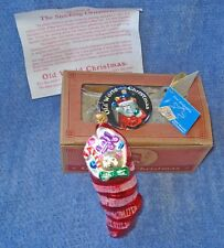 1993 Old World Christmas Ornament #4410 Stocking W/Toys + Lapel Pin-W/Star Cap