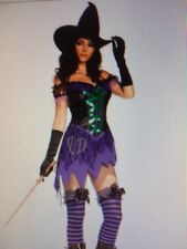 Womens WITCH HALLOWEEN HORROR Sexy purple & green Fancy Dress Costume Outfit