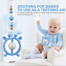 Baby Kids Teething Toy Pacifier Clip with Silicone Bead Rattle Teether Toy