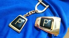 "DRESS BELT BUCKLE & KEY CHAIN ""P"" Gold Tone & Black Enamel Made Spain Monogram"