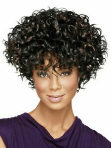 Women's African American Dark Brown Short Curly Tousled Synthetic Afro Wigs