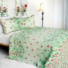 3 PC Gakuen Alice Watercolor rose green pattern 100% Cotton Queen Quilt Shams