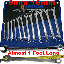 BERGEN EXTRA LONG Spanners 12pc Long Reach Combination Wrench Spanner Set 8-19mm