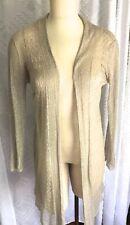 Eileen Fisher PM S Bone Linen Silk Blend Gossamer Long Cardigan Sweater