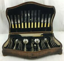 Vintage Wood Cutlery Canteen - John Taylor London - 41 Items - EPNS/Silver Plate
