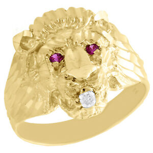 Real 10K Yellow Gold Mens Lion Head Pinky Ring 18mm Fancy Band Created Ruby Eyes