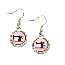 Sewing Machine Vintage Pink Background Dangling Drop Charm Earrings