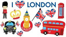 I Love London England Queen British Flag Red Bus Phonebox Wall Stickers
