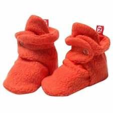 NEW Zutano Original Fleece Booties 12M Mandarin Orange Stay-On Baby Socks