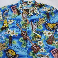 High Surf Mens Tiki Ukulele Hibiscus Floral Aloha Hawaiian Shirt Sz XL