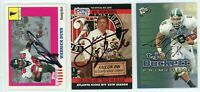 ATLANTA FALCONS Autographed Football Card Lot - 3 Autos WARRICK DUNN GLANVILLE