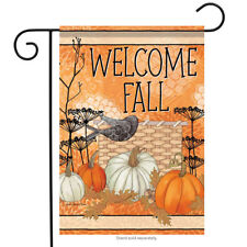 "Fall Crow Welcome Garden Flag Harvest Pumpkins Autumn 12.5"" x 18"""