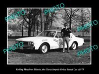 OLD POSTCARD SIZE PHOTO OF ROLLING MEADOWS ILLINOIS THE IMPALA POLICE CAR 1979