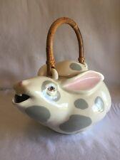 Cute.. Animals & Co Bunny Rabbit Teapot Gray Spots 1984 No. 1383
