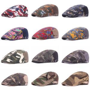 Men Classic Camouflage Beret Hat Outdoor Travel Adjustable Newsboy Flat Cap