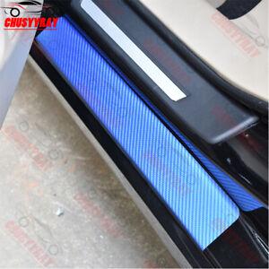 4pc/Set Carbon Fibre 5D Auto Car Door Sill Scuff Protector Plate Sticker Cover