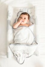 BabyDam Baby CozyToze Hooded Bath Towel 100% Organic Bamboo - White/Grey 400gsm