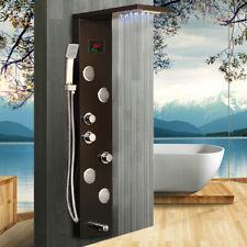 Brushed Black LED Shower Panel Screen Display Massage Jet Mixer Faucet SS Units