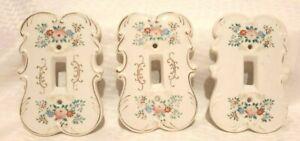 Set of 3 Vintage Porcelain Light Switch Plates - Roses
