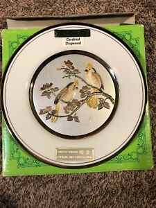 Chokin Plate 24k  Cardinal Dogwood Design 2073