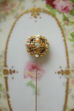 "Victorian Hatpin Vintage Style Aurora Borealis Rhinestone 8"" Gorgeous Hat Pin"