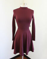 NWT American Apparel Violette Skater Dress Port Maroon Open Back Fit & Flare XS