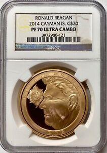 2014 Cayman Islands Gold $20 Knighthood of Ronald Reagan NGC PF70 UCAM