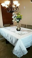 """Embroidered Cutwork Peacock Embroidery Tablecloth Napkin 72x108"""" Elegant Linen"""