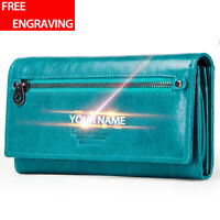 Women's Genuine Leather Long Wallet Clutch Card Holder Accordion Purse Handbag