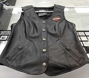 Harley Davidson Women's Size Medium Black Leather Vest Made in China, Free Ship